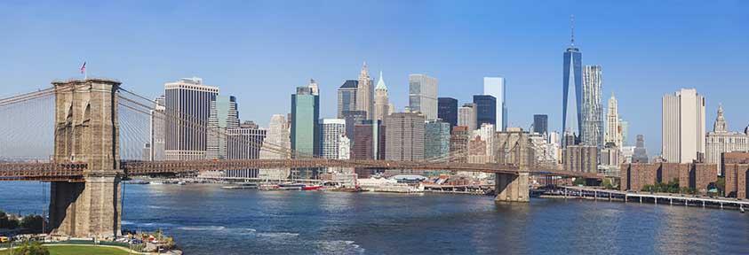 Brooklyn Bridge and Downtown Skyline in New York