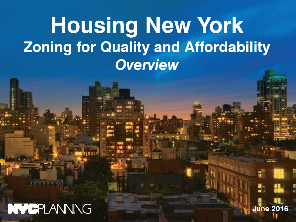 Housing New York: Zoning for Quality and Affordability ZQA Zoning Overview