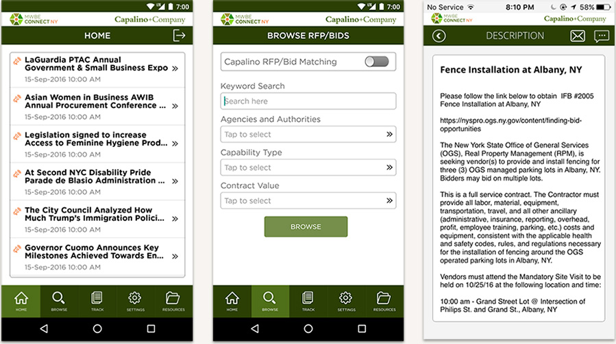 MWBE Connect mobile app screenshots