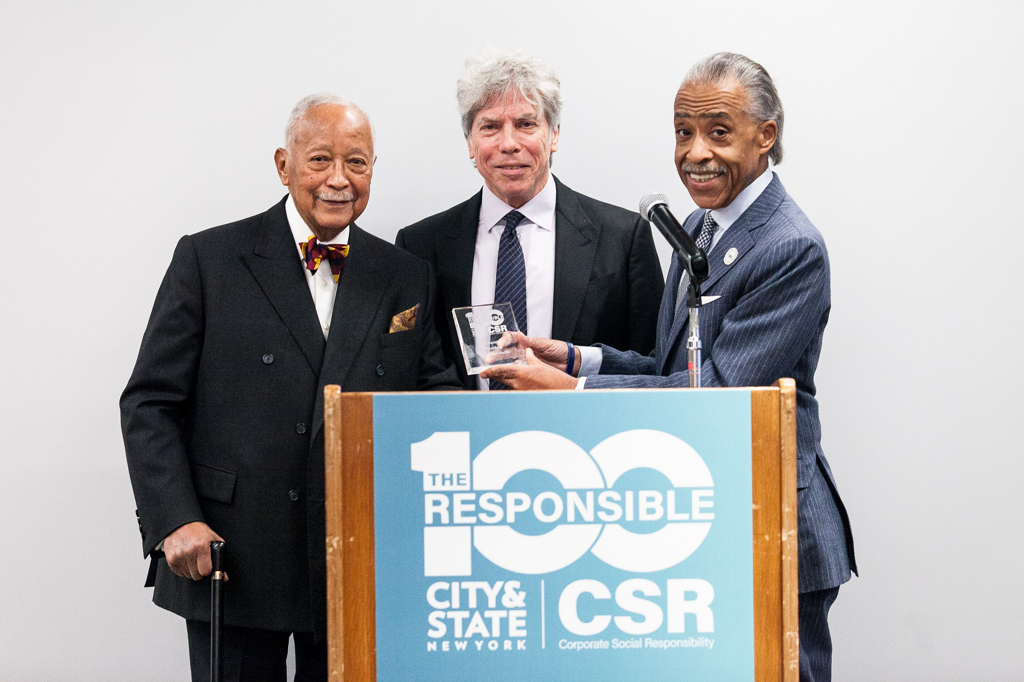 Former NYC Mayor David Dinkins, Ken Sunshine and Al Sharpton at City&State's Responsible 100 event for Corporate Social Responsibility