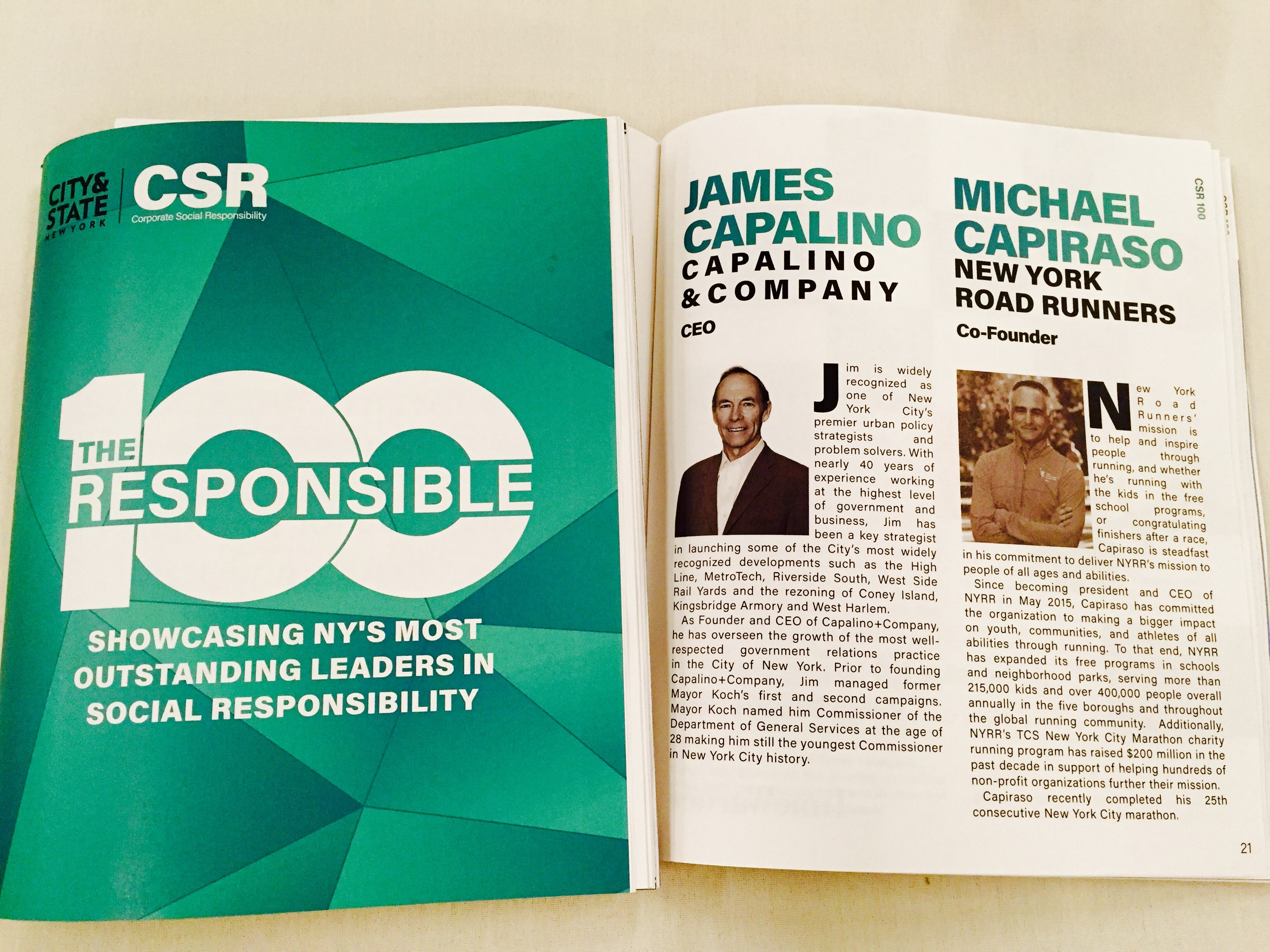 Jim Capalino honored at City&State Responsible 100 awards for corporate social responsibility csr