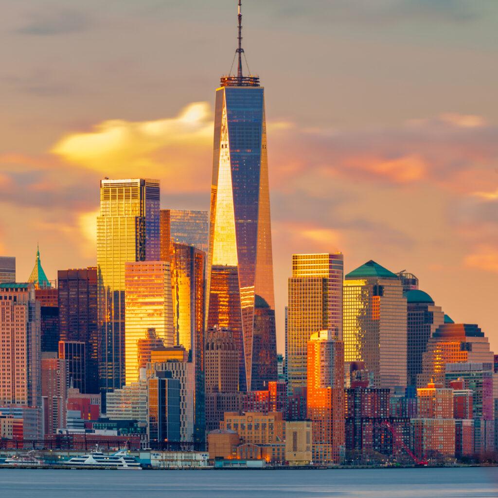 Downtown Manhattan skyline at dawn